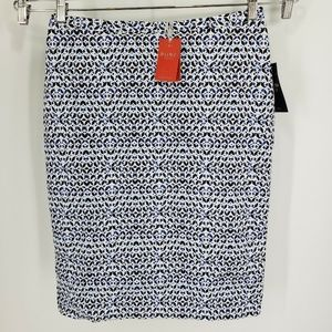 New Pure Collection Pencil Skirt -  Blue Geo Print